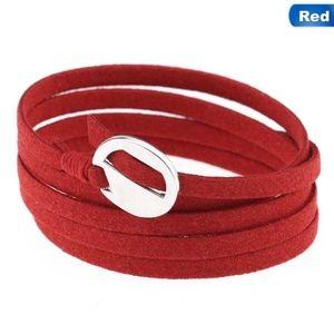 Red Multilayer Leather Wrap Bangle Bracelet